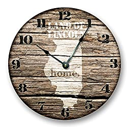 ILLINOIS STATE HOMELAND CLOCK - LAND OF LINCOLN - Large 10.5 Wall Clock - Printed Wood Image- IL_FT