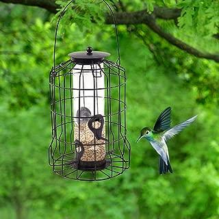 fineshelf Bird Feeder Wild Bird Feeder Hanging Automatic Bird Feeding Tool Large Outdoor Iron Cage