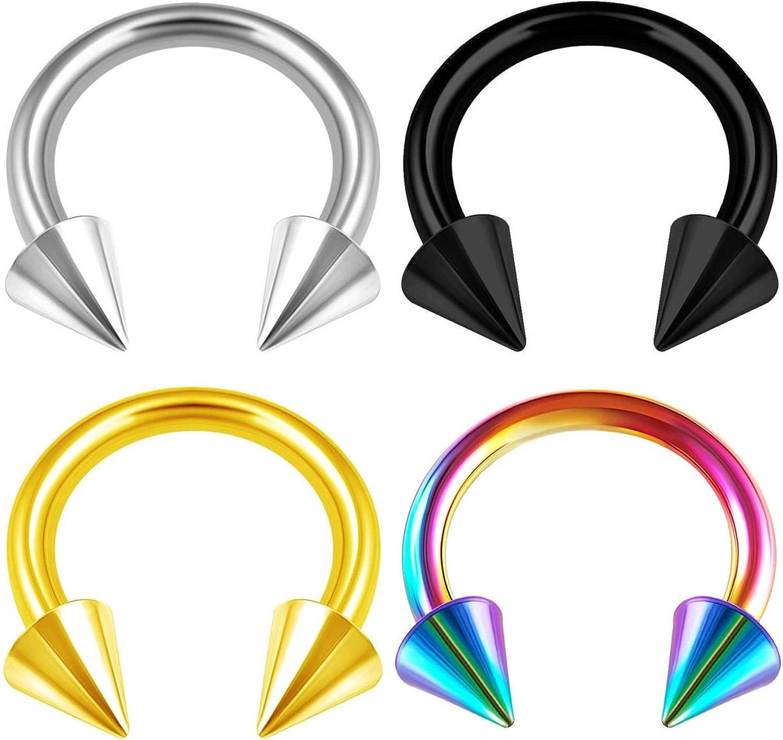 4PCS Stainless Steel Horseshoe Circular Barbell 14 Gauge 4mm Spike Septum Earrings Cartilage Piercing Jewelry Choose Sizes