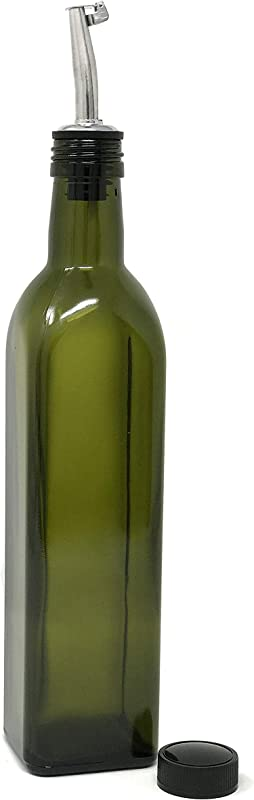 Nicebottles Olive Oil Dispenser With Stainless Steel Flip Top Pourer Dark Green Square 500ml