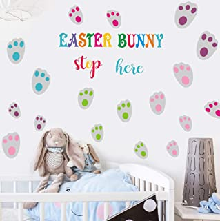 TOARTi Easter Wall Decals(28 Decals), Bunny Paw Prints Stickers, Easter Bunny Stop Here Wall Art Animal Rabbit Footprints ...
