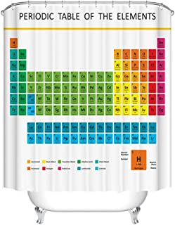 Fangkun Custom Shower Curtain Periodic Table of Chemical Elements - Waterproof Polyester Fabric Bath Curtains Decor Set - 12pcs Shower Hooks - 72 x 72 inches