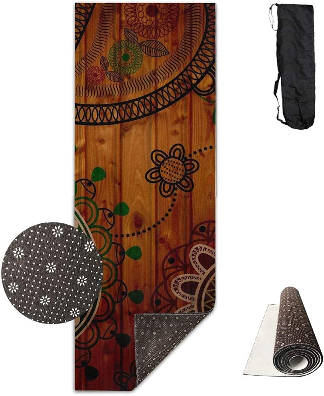 Classical Wooden Paisley Premium Print Durable Concise Fun Printing Yoga Mat for Yoga, Workout, Fitness