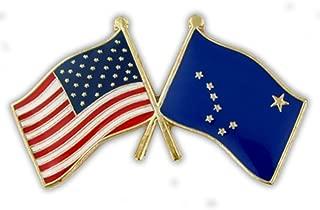 Alaska and USA Crossed Friendship Flag Enamel Lapel Pin