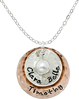 Deux Amore Multi-Tone Two Disc Necklace Personalized on...