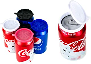 Smarter-Seal, [New 8-Pack, Multi-Color (2 Red, 2 White, 2 Blue, 2 Black), Soda or Beverage Can Lid, Cover or Protector