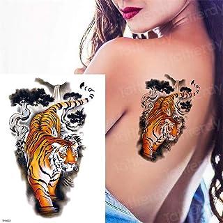 Handaxian 3pcsDurable Tatuaje Animal Cabeza de león Tatuaje Palo Cuerpo Arte Impermeable Tatuaje Bosque Negro Muslo Tatuaje 3pcs-15