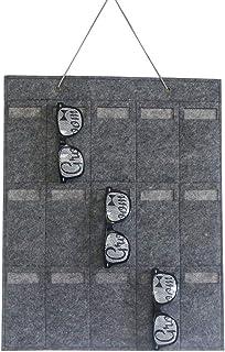 🍀Libobo🍀Sunglasses Organizer Storage Hanging Bag Wall Pocket by Sunglasses 15 Slots Felt (Gray)