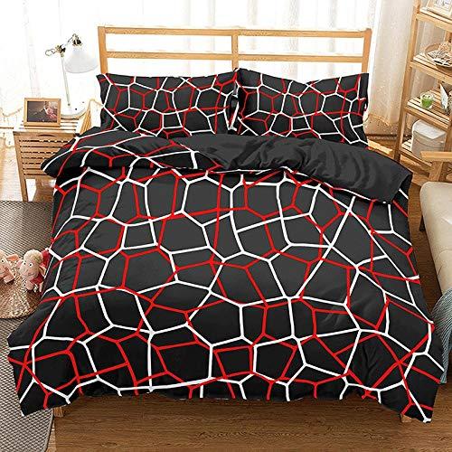HGFHGD Bettwäsche-Set für Kinder und Erwachsene, geometrisch, 5 Farben, 3D-Bettwäsche, Bettbezug, dreiteiliges Set