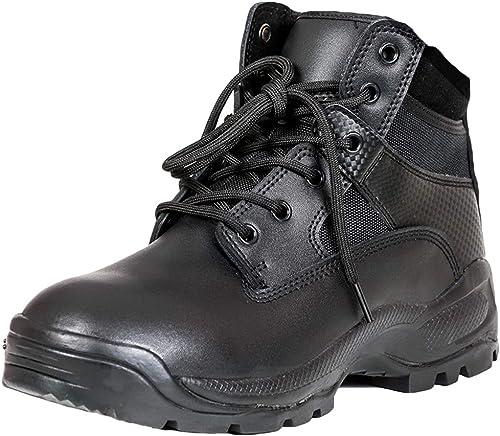 YongBe Hommes Bottes Combat Tactique d'entraîneHommest en Plein air d'entraîneHommest Multifonction Cuir Noir Bottes de randonnée et de randonnée Militaires en Cuir Noir