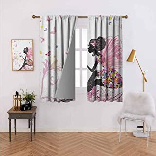 Curtains for Living Room Fairy Girl with Wings in a Floral Dress Magical Fantasy Garden Flying Butterflies Multicolor Home Bedroom Wall Decorations 55