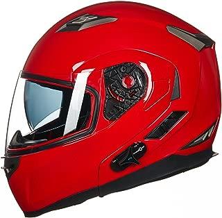 ILM Bluetooth Integrated Modular Flip up Full Face Motorcycle Helmet Sun Shield Mp3 Intercom (L, RED)