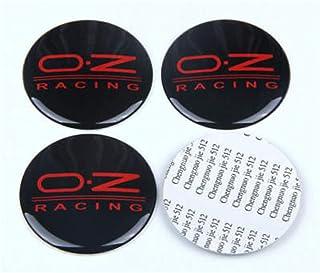 ean 4 60mm OZ Logo Auto Logo Ruota Centrale coprimozzo cap Rim Badge Nero Motivo Rosso Etichetta