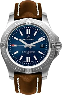 Breitling Chronomat Colt Automatic 44 Blue Dial Men's Watch on Brown Leather Strap A17388101C1X2