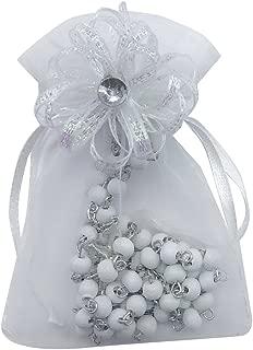 12 Pcs White Wooden Baptism rosary Favors with Decorated Organza Gift Pouches - Recuerdos de mi Bautizo (White-pg1)