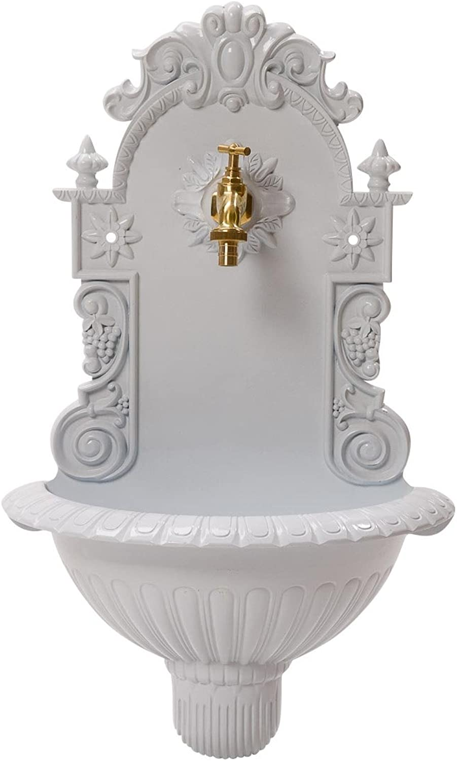 Basin, wine, wall fountain, garden, aluminium basin, antique style fountain, white