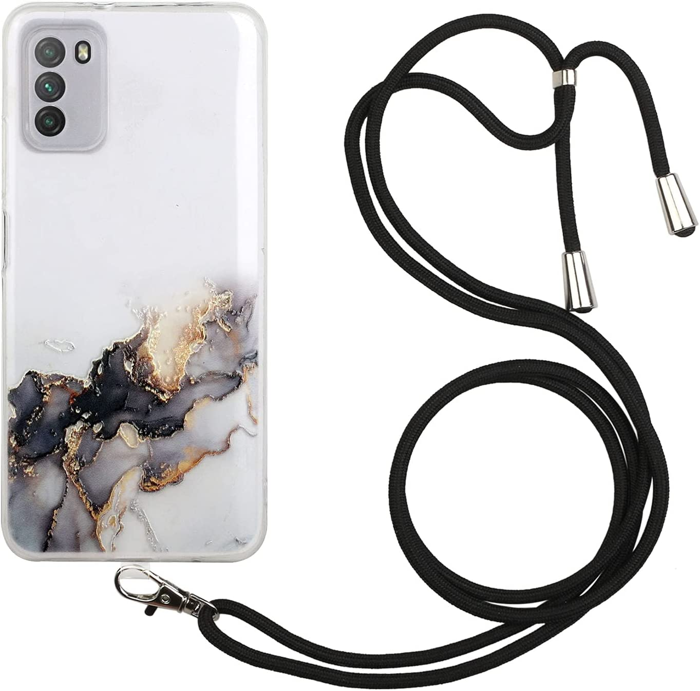 Lanyard Case Compatible with Xiaomi Poco M3, Marble Design Crossbody Case, KASOS Flexible Clear Cover with Neck Cord Strap Transparent Silicone Adjustable Necklace Rope Case (Black)