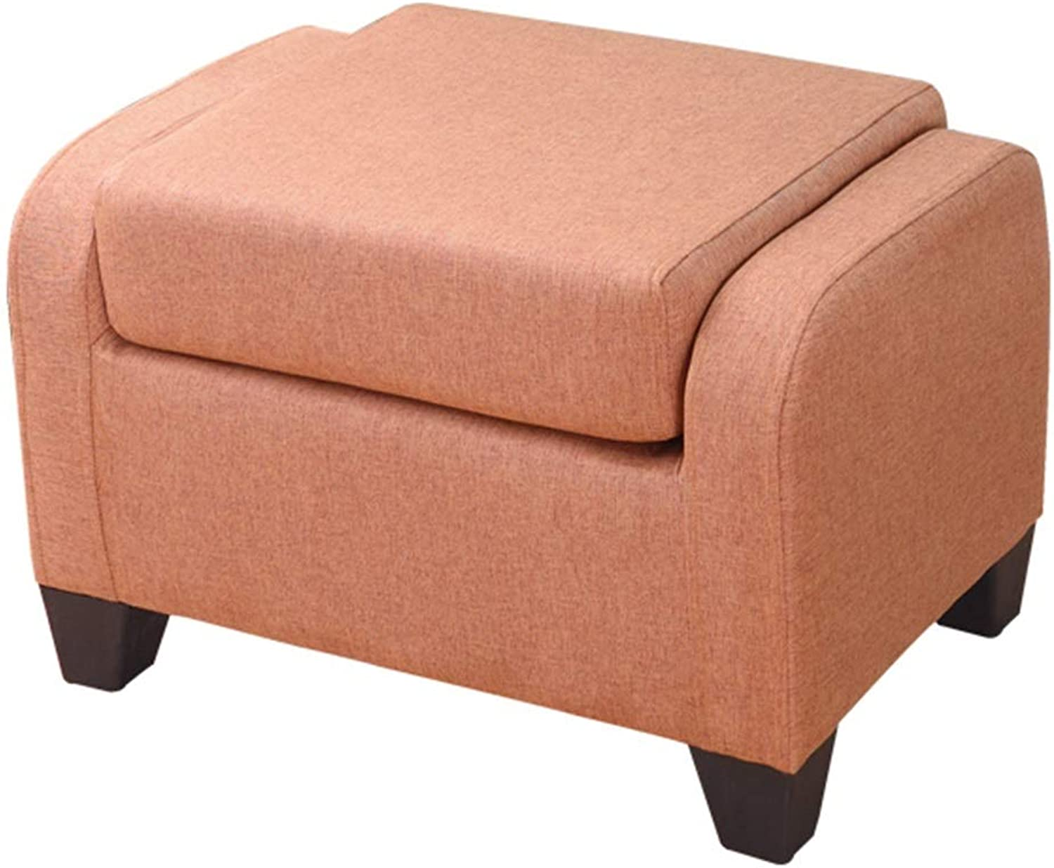 LSXIAO Pouffes And Footstools Folding Design Save Space Linen Cloth Refreshing Breathable, 5 colors (color   orange, Size   58x40.5x37.5cm)