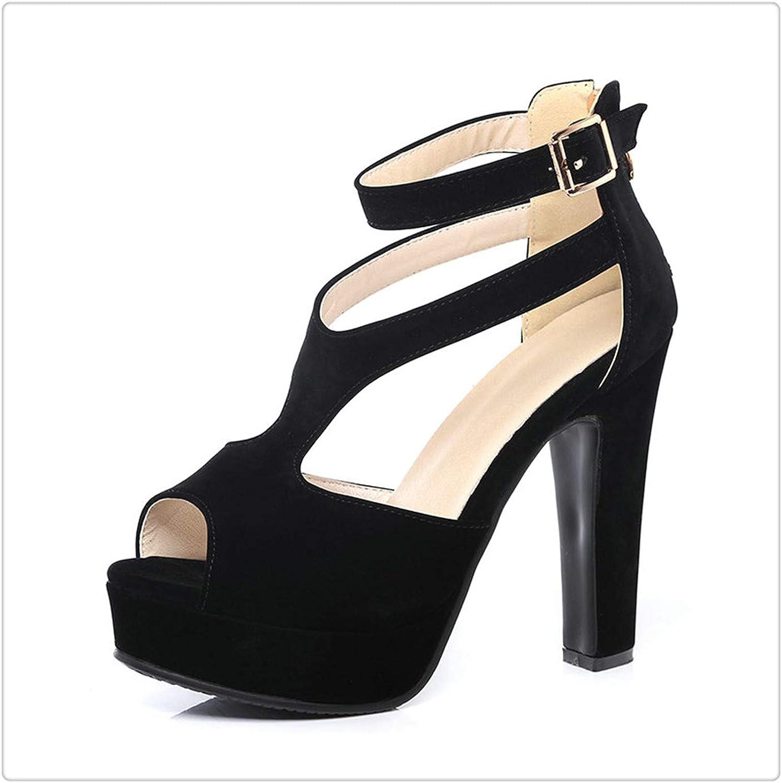 BIONGTY& Summer Ladies Square High Heel Peep Toe PU Leather Zipper Woman Wedding shoes