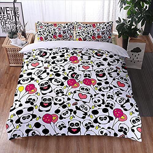 YJJYLMT Parejas Doble juegos de fundas para edredón Juego de cama 3D Panda blanco y negro, dormitorio personalizado, textiles para el hogar, funda nórdica,fundas de almohada, fundas de edredón Fund