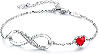 CDE Infinity Heart Symbol Charm Bracelet for Women 925 Sterling Silver Adjustable Mother's Day Jewelry Gift Birthday Gift ...