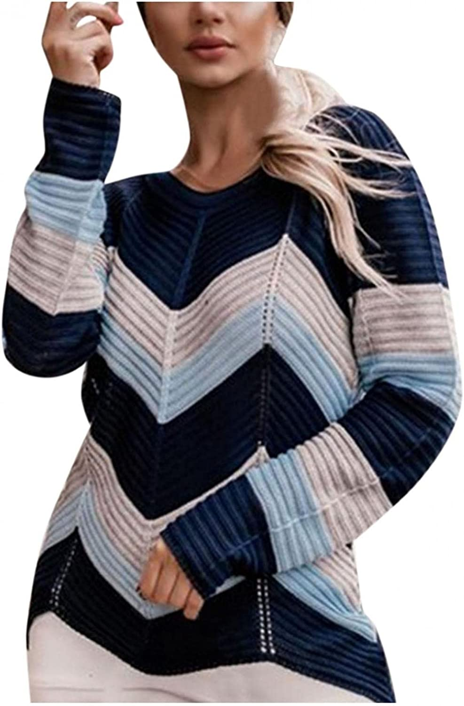 Hemlock Women Striped Knit Sweaters V Neck Color Block Pullover Sweater Fall Tops Slim Jumper Knitwear