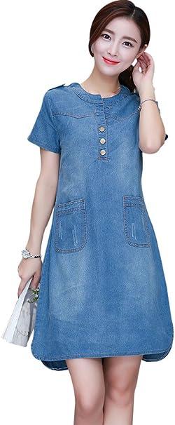 Women Denim Short Sleeve Elegant Slim A-Line Cowboy Casual Dress Summer YU