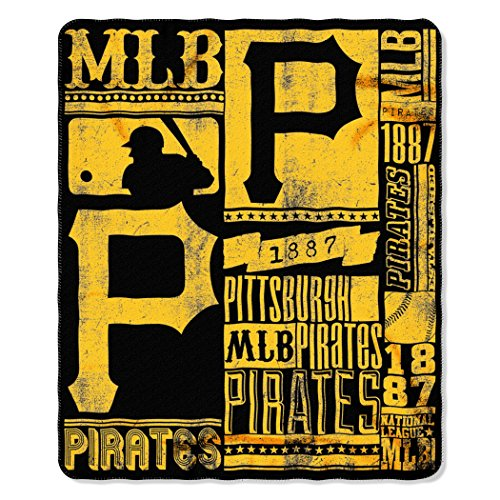 The Northwest Company MLB Pittsburgh Pirates Strength Printed Fleece Throw, 50-inch by 60-inch