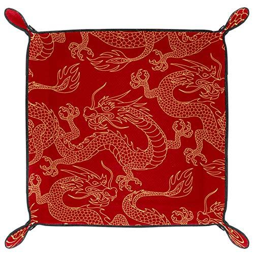 HOHOHAHA Bandeja plegable de cuero de la PU para dados de rodar soporte de dados para D&D, RPG, juegos de mesa o almacenamiento de llaves del teléfono de escritorio, China Myth Golden Dragon rojo