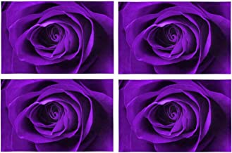 InterestPrint Digitally Enhanced Purple Rose Placemat Table Mats Set of 4, Heat Resistant Place Mat for Dining Table Restaurant Home Kitchen Decor 12x18