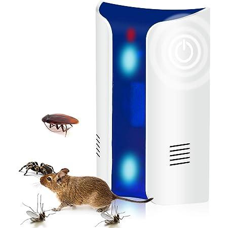 ODLR Répulsif Ultrason Anti Rongeur Insectes, 8w Double Corne 24KHz~74KHz Fréquence Changer avec Lumières Effrayantes Répulsif Antiparasitaire pour Occasions Polyvalentes Anti Rats, Souris