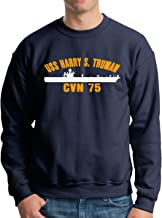 DAHONGweiyi USS Harry S Truman CVN 75 Men's Crew Neck Hoodie Fleece Sweatshirt Hooded Sweatshirt