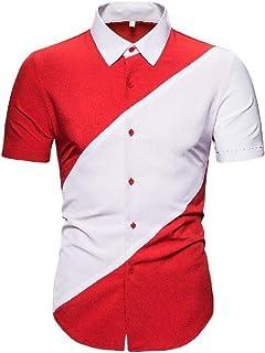 Abeaicoc Men's Up Button Regular Business Contrast Fit Short Sleeve Casual Dress Work Shirt