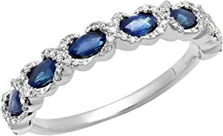 4X2 MM Each Marquise Gemstone & Round White Diamond Ladies Swirl Wedding Band, 14K White Gold