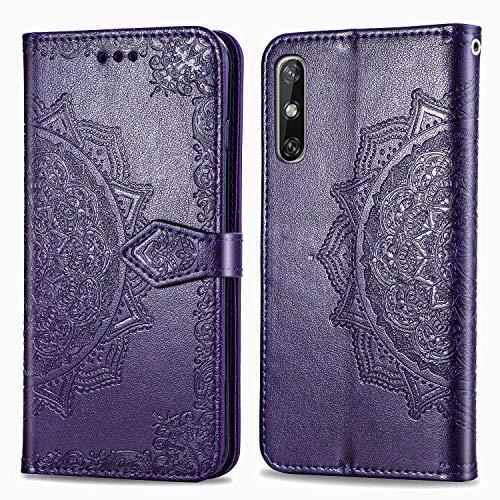 DESD011855 - Funda de piel tipo cartera para Huawei Enjoy 10E (función atril), color morado