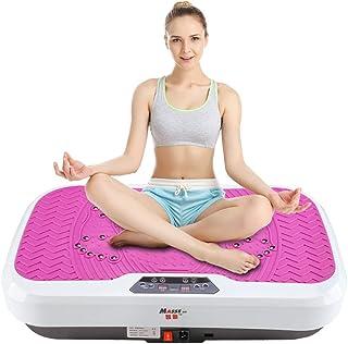 JIANGJIE Fitness Vibration Platform Wholebody Massager Máquina de vibración para Todo el Cuerpo Crazy Fit Placa de vibración con Control Remoto y Bandas de Resistencia Rose Rojo