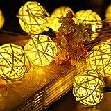 Samoleus Rattan Ball Luci Bianco Caldo, 4.8M 20 LED 2 Modi Luci Della Stringa Solare Impermeabile, Catene luminose per Esterni (Bianco Caldo)