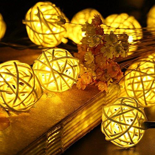Samoleus Rattan Lichterkette Solar Warmweiß, 20 LEDS 4.8M 2Modes Außen Lichterketten Solar Lampions Wasserdicht Weihnachtsbeleuchtung für Gärten Häuser Outdoor (Warmweiß)