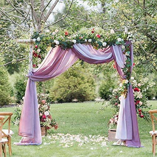 NICETOWN Decorative Wedding Arch Draping Scarf Curtains, Romantic Mauve Ombre Voile Sheer Soft Window Scarf Valances for Outdoor/Indoor Big Events, Set of 2, W60 x L216