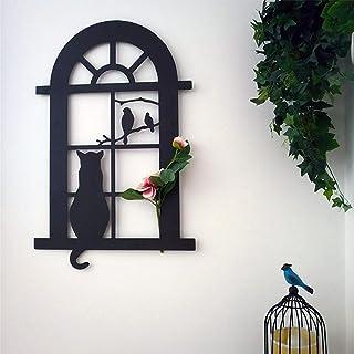 BKWJ Art de Cour d'oiseau de Chat en métal, décoration de Statue de Jardin créatif, décor de tenture Murale Animale en Fer...