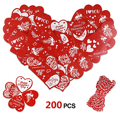 Konsait 200 PCS Valentine Gift Tags Kraft Paper Gift Tags Heart shape Hang Tags for Valentine's Day Decorations Gift Wedding Party Favors with 20m Jute Twine