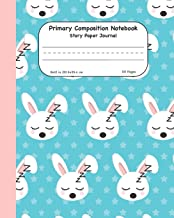 Primary Composition Notebook Story Paper Journal: Cute Sleeping Bunny Dashed Mid Lined Pages For Alphabet Practice Along With Space For Drawing Pictures 8