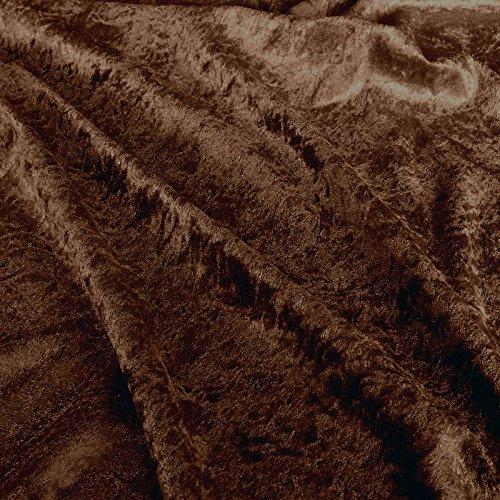 TOLKO 1m Pannesamt als Meterware Edel glänzender Stretch Samt-Stoff zum Nähen Dekorieren | 145cm breit Kleidungsstoff Dekostoff Modestoff Polyesterstoff für Vorhänge Gardinen Bühne (Dunkel-Braun)