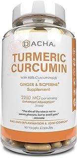 DACHA Tumeric Curcumin Supplement - 2250mg Joint Support Supplements Turmeric with Black Pepper Bioperine Ginger 95% Curcu...