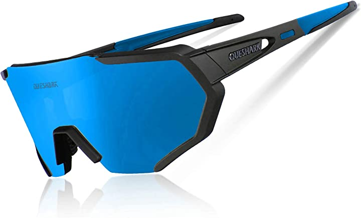 Occhiali da ciclismo bici mtb intercambiabili queshark polarizzati anti-uv con 3 o 5 lenti QE42N