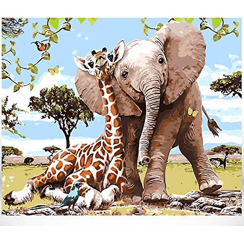 FDDPT Pintar por Numeros Adultos Jirafa y Elefante niños Lienzo de Bricolaje de Pintura al óleo Principiantes 40x50 cm