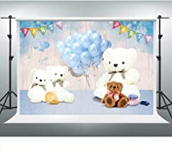 Teddy Bear Backdrop for Baby Shower 7x5ft Blue Balloons Wooden Board Baby Shower Decorations for Girl Boy Party Photo Shoot Props Cake Table Banner LSVV471