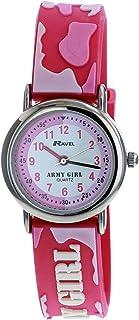Ravel Army Girl Time Teacher White Dial 3D Pink Strap Girls Watch R1513.55