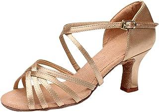 Zhhlaixing Ballroom Latin Shoes Womens Standard Performance Dance Shoes - Lightweight Comfortable Satin Peep Toe Sandals Dance Evening Party High Heel