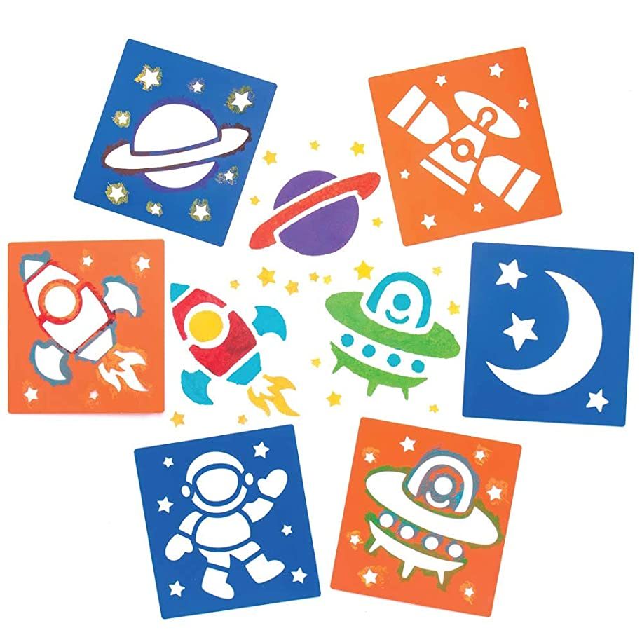 Baker Ross Solar System Stencils (Pack of 6) for Kids Arts and Crafts